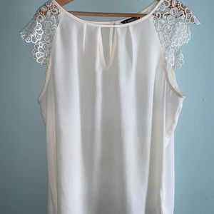 Express cream shirt w lace embroidery